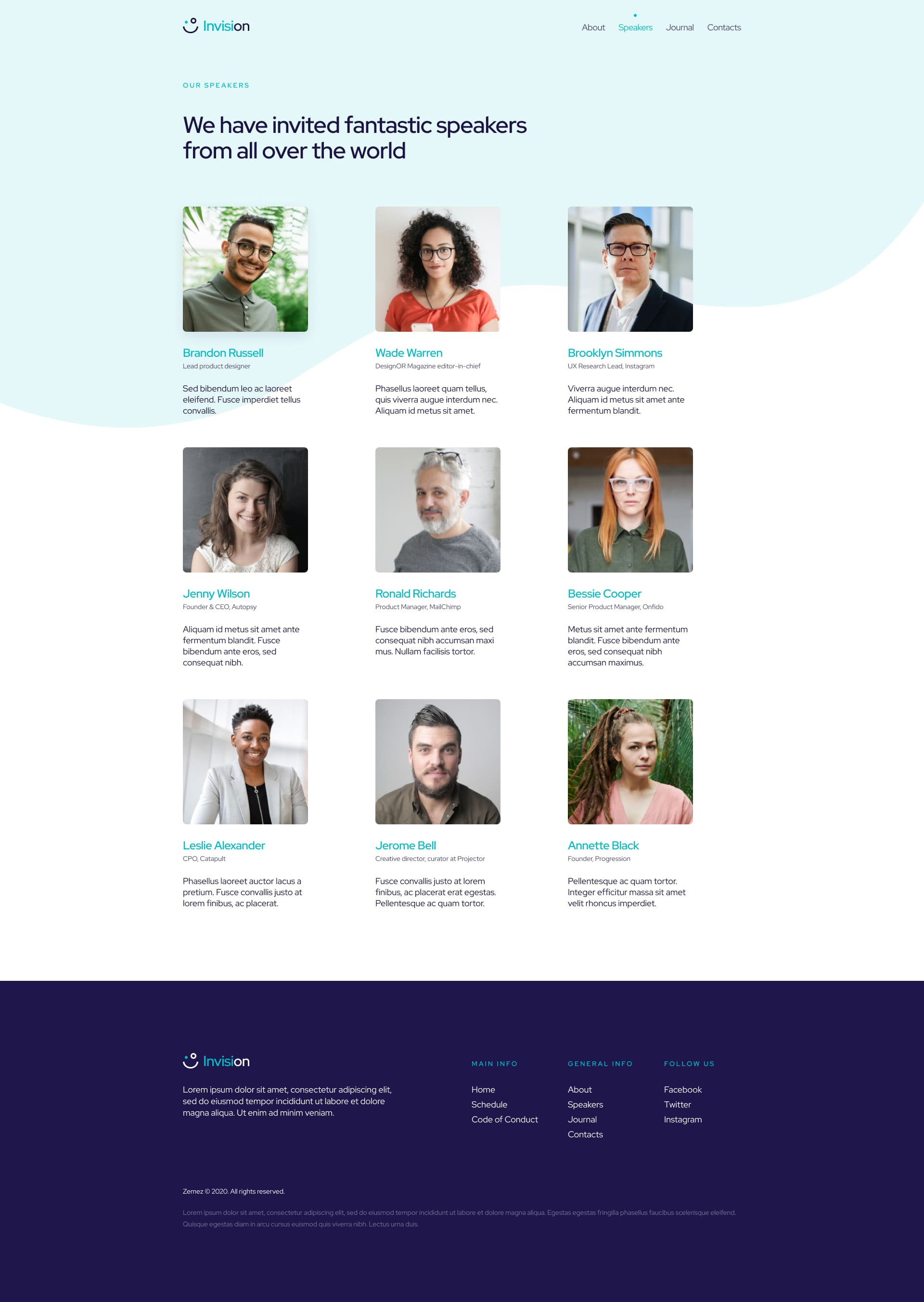 Free Wordpress Event Landing Page - Invision - speakers