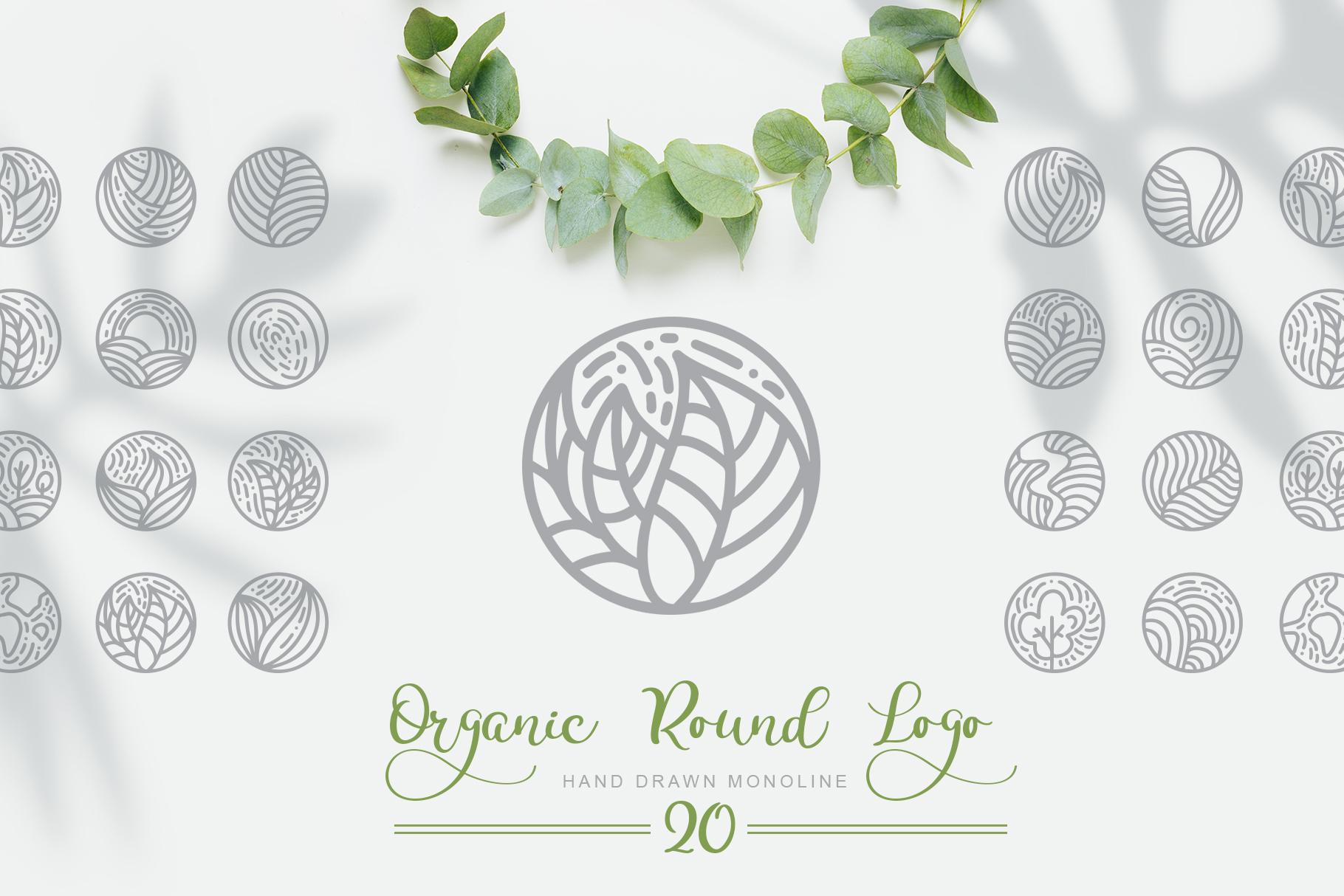 Organic Logo: Organic Round Logo Emblem - title01