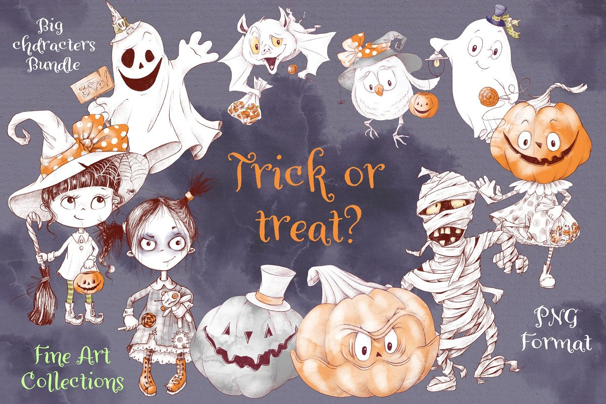 Trick or Treat Clipart: 183 Halloween Clipart PNG - 1 1 6
