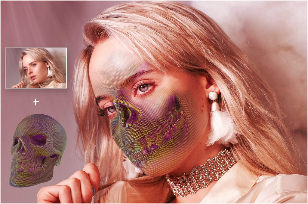 Skull PNG: Skull Textured Effect - 1 before after 4 1024x681