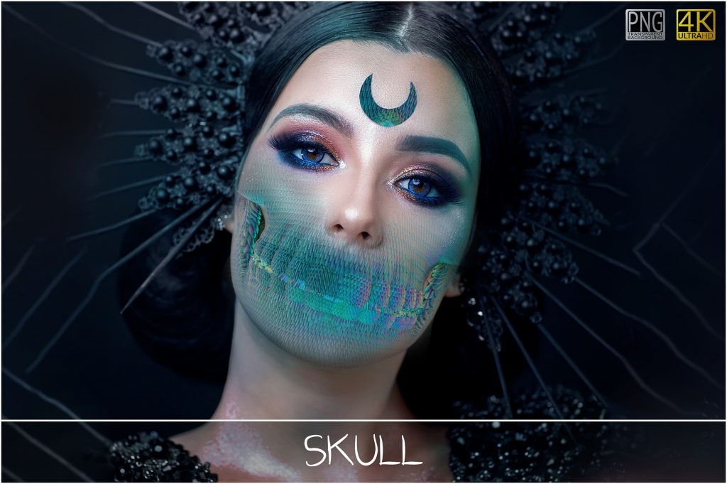 6 Skull PNG Transparent Halloween Overlays - 1 main 4 1024x681