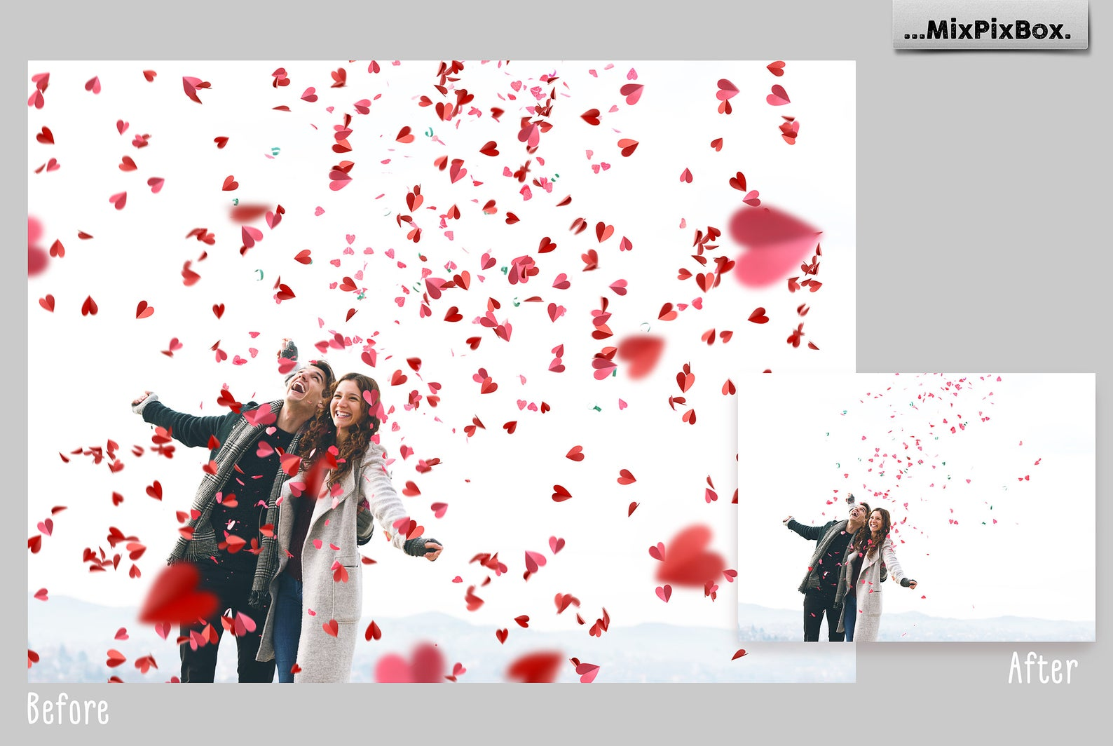38 Heart Overlays: Red Paper Hearts Photoshop Add-ons - 1