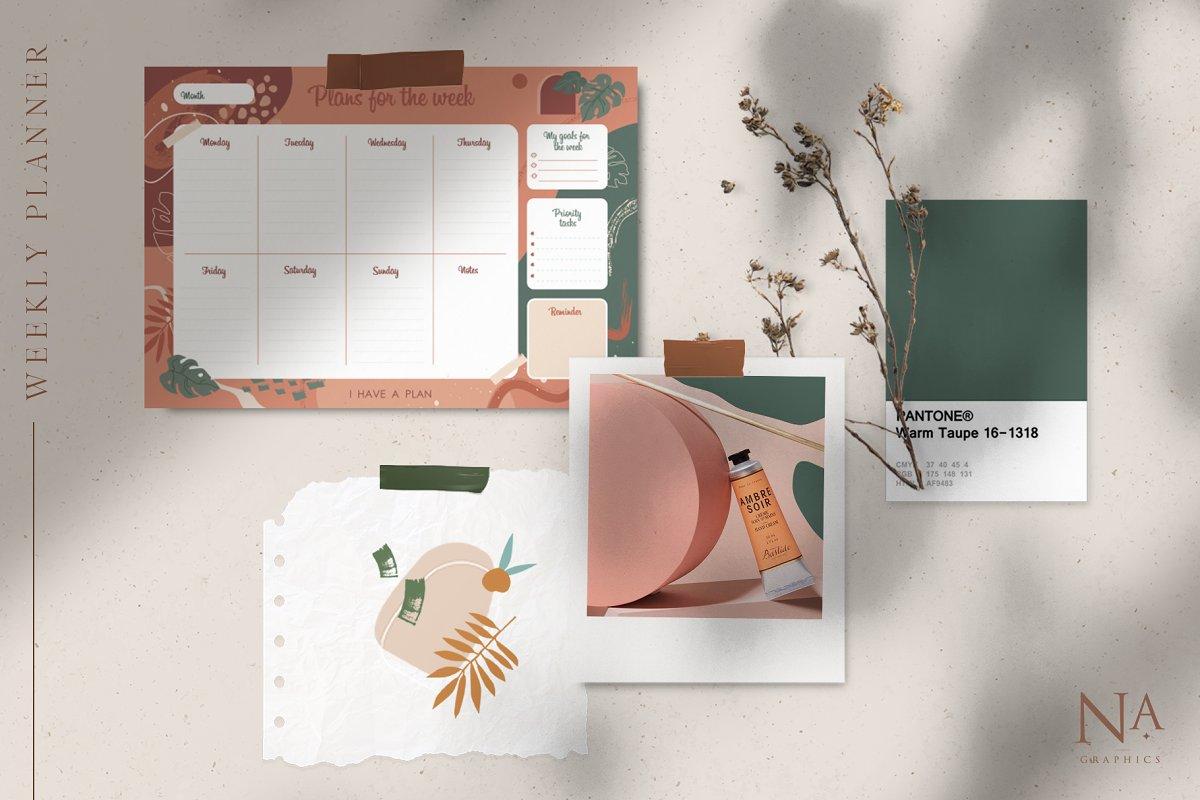 Modernistic Weekly Planner Printable - 2 1 3