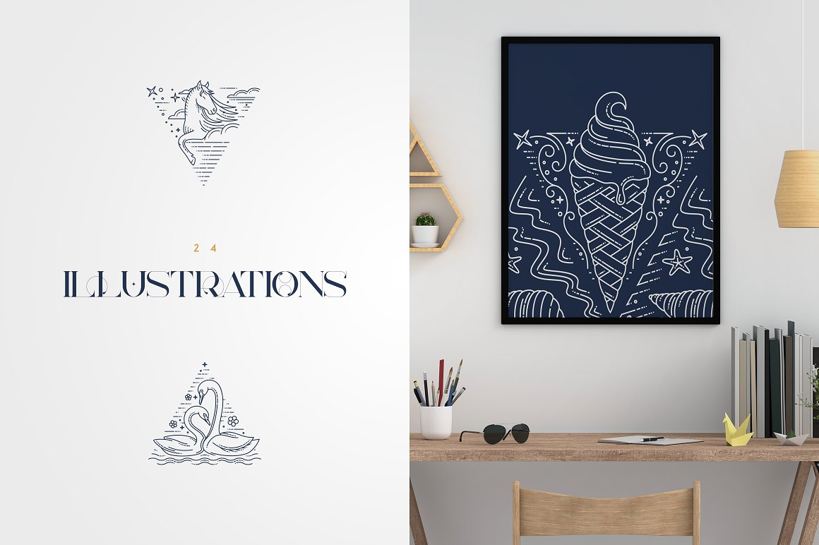 24 Line Art Illustrations Dreamland - 2 2 2