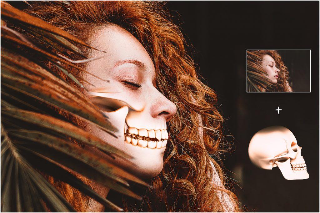 Metallic Skull Effect Halloween Bundle - 2 before after 1 1024x681
