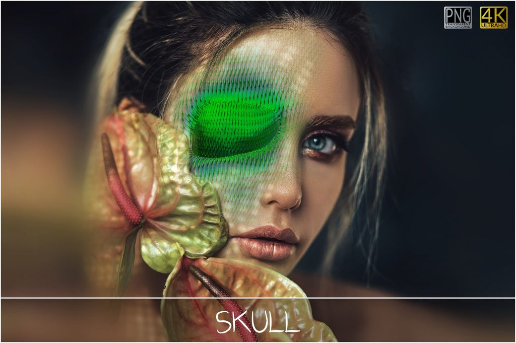 6 Skull PNG Transparent Halloween Overlays - 2 main 2 1024x681