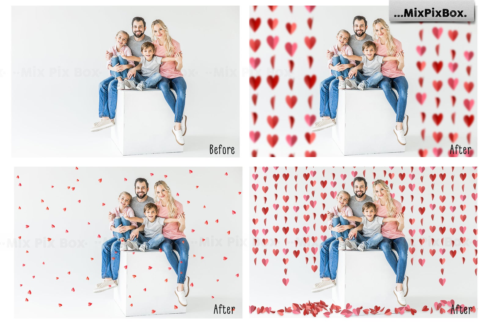 38 Heart Overlays: Red Paper Hearts Photoshop Add-ons - 2