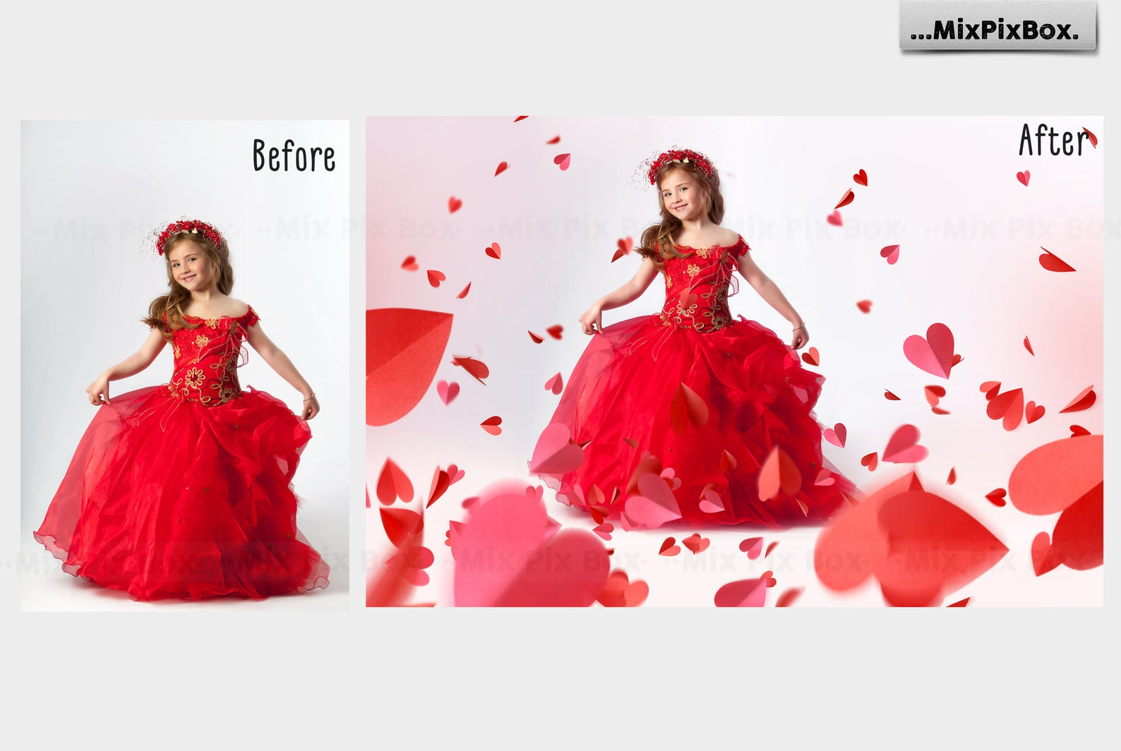 38 Heart Overlays: Red Paper Hearts Photoshop Add-ons - 3