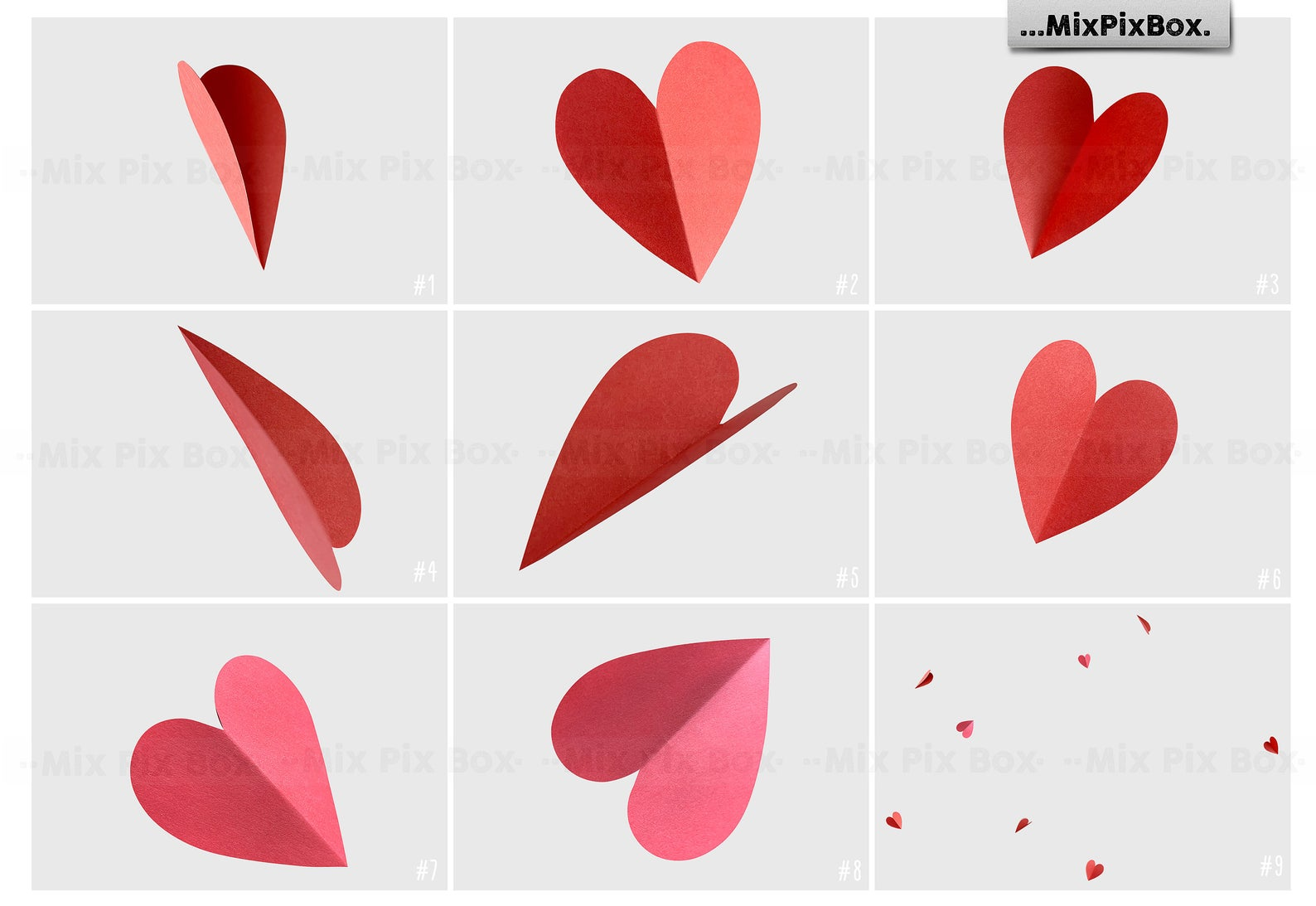 38 Heart Overlays: Red Paper Hearts Photoshop Add-ons - 4