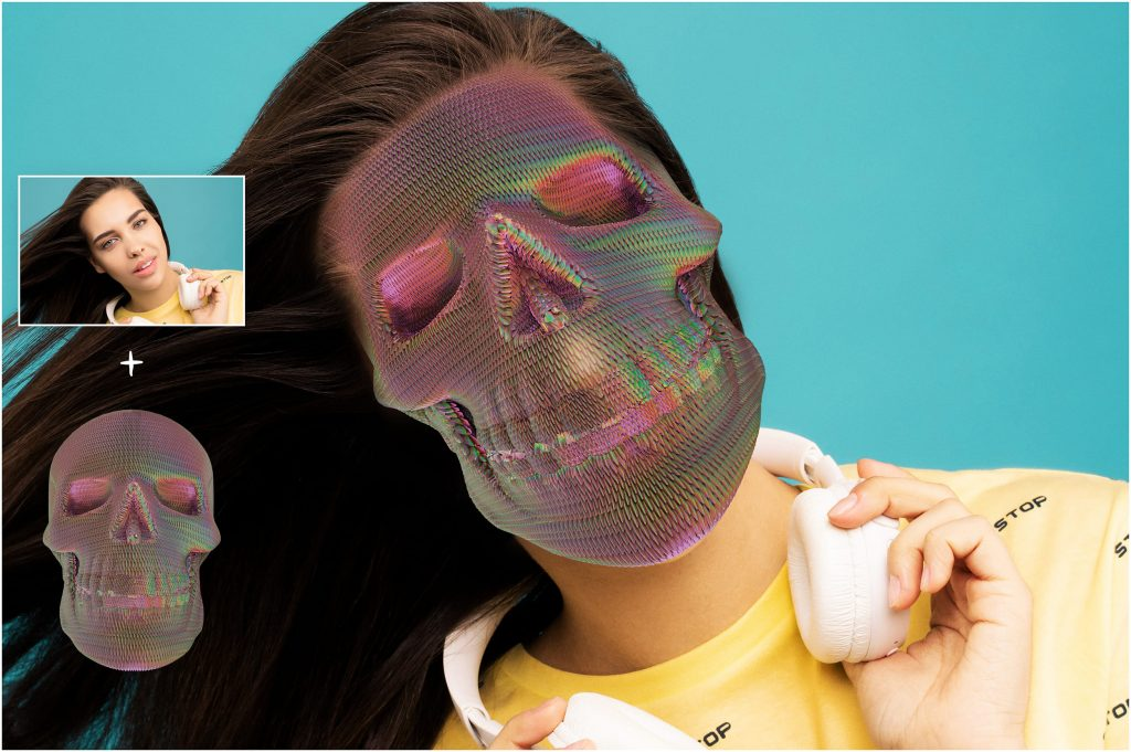 6 Skull PNG Transparent Halloween Overlays - 5 before after 2 1024x681