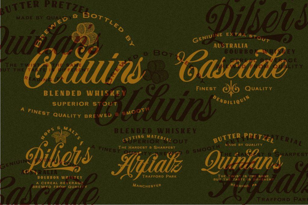 Benford Layered Vintage Industrial Font