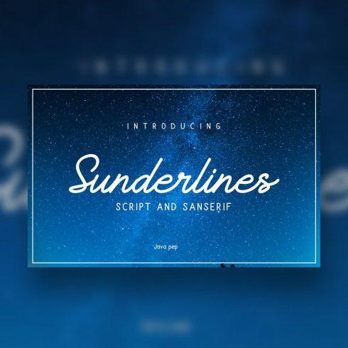 Blue rectangle labeled Sunderlines. Brush Script Font.