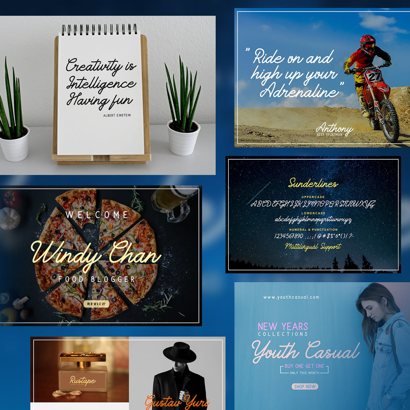 Examples of Brush Script Fonts on different surfaces. Font next to: calendar, motorcycle, starry sky and so on.