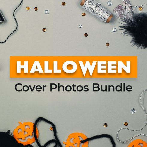 Halloween Cover Photos. Silvery threads, pumpkin figurines and sparkles on a gray background.