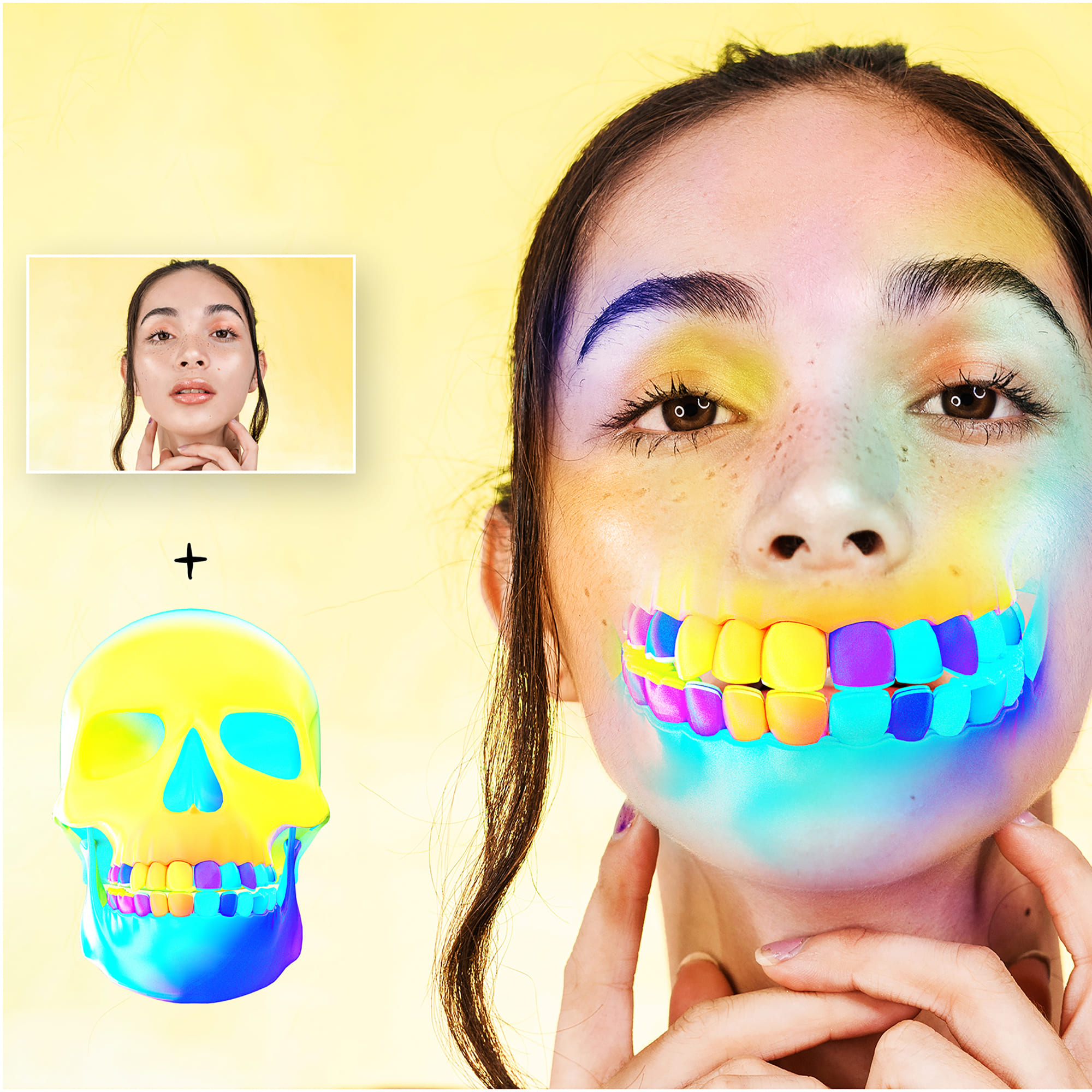 6 Skull PNG Transparent Halloween Overlays - Holographic Skull 2