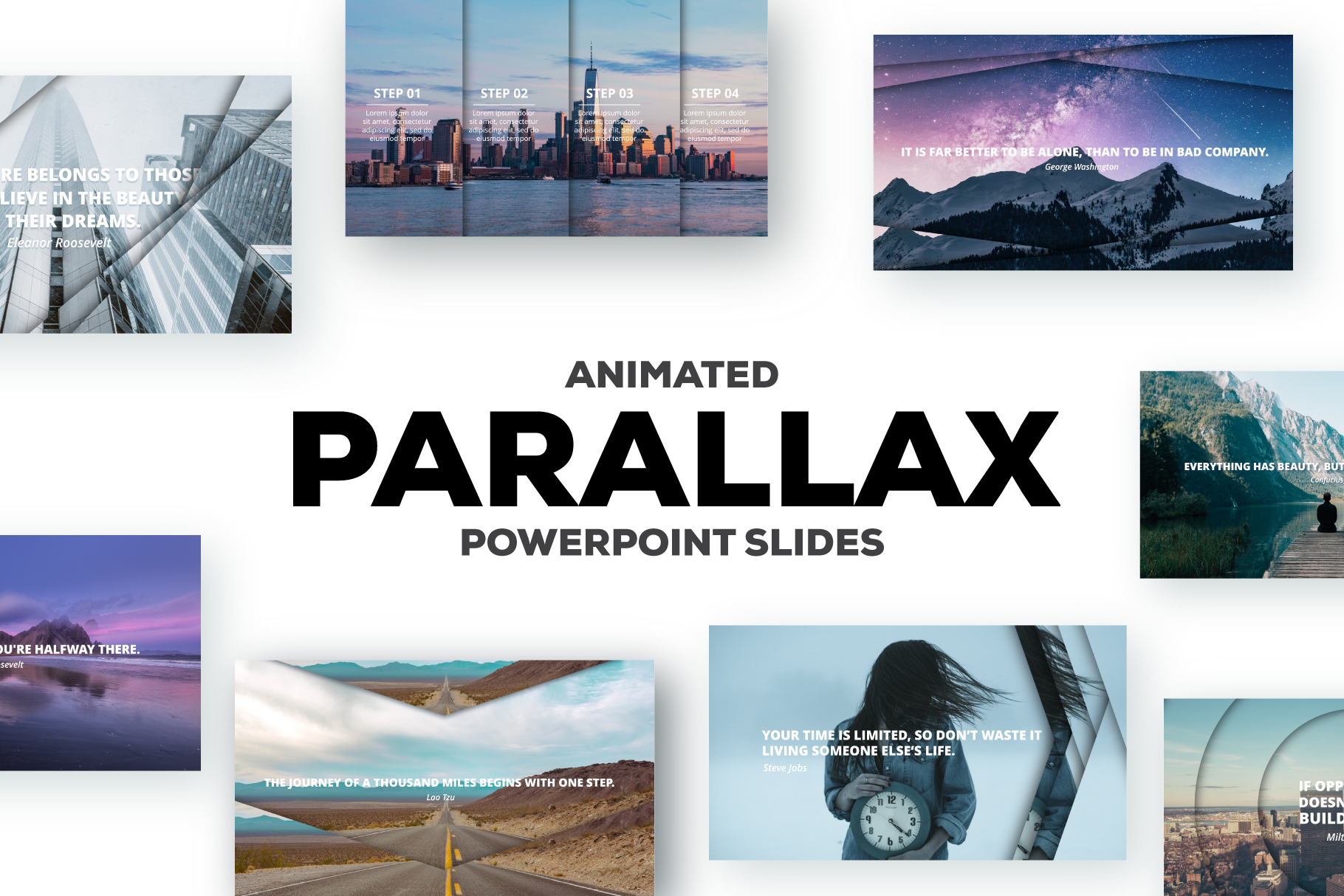 Parallax Powerpoint Theme: 25 Animated Slides - Main parallax cover