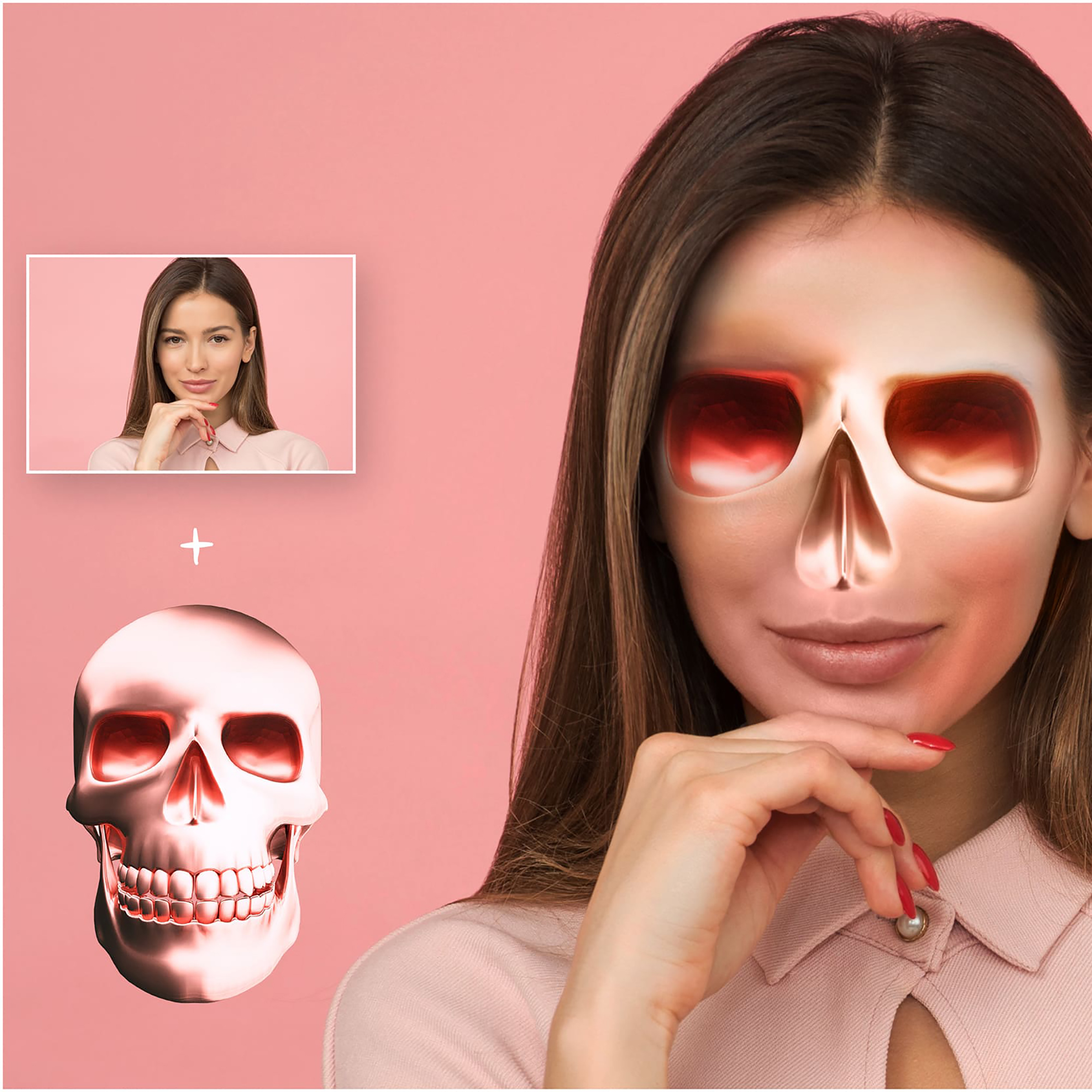 6 Skull PNG Transparent Halloween Overlays - Metallic Skull Effect