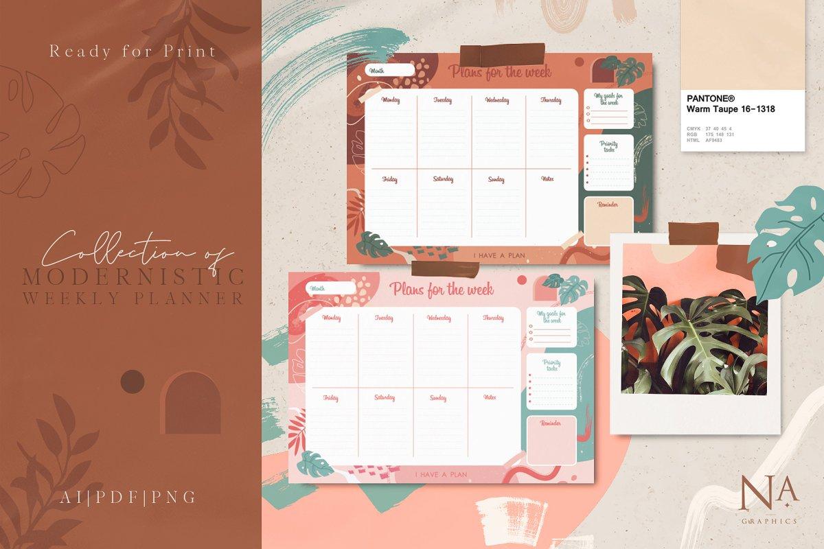 Modernistic Weekly Planner Printable - main 1 2