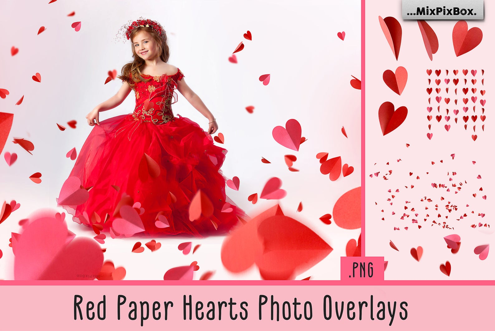 38 Heart Overlays: Red Paper Hearts Photoshop Add-ons - red paper hearts first image