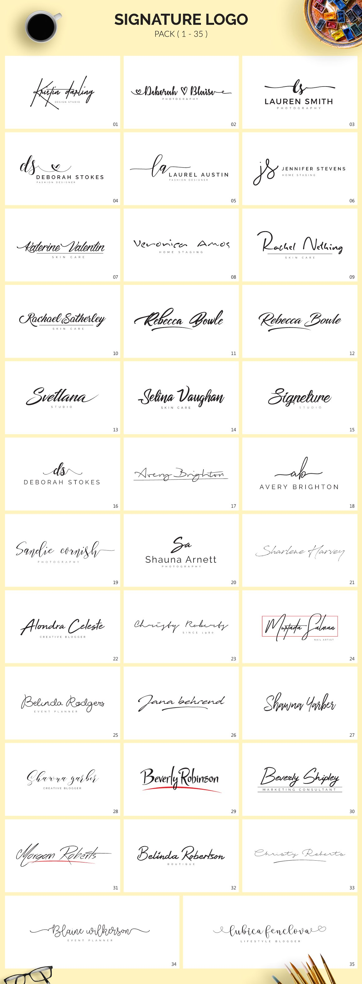 70 Signature Logo Bundle - signature logos 1