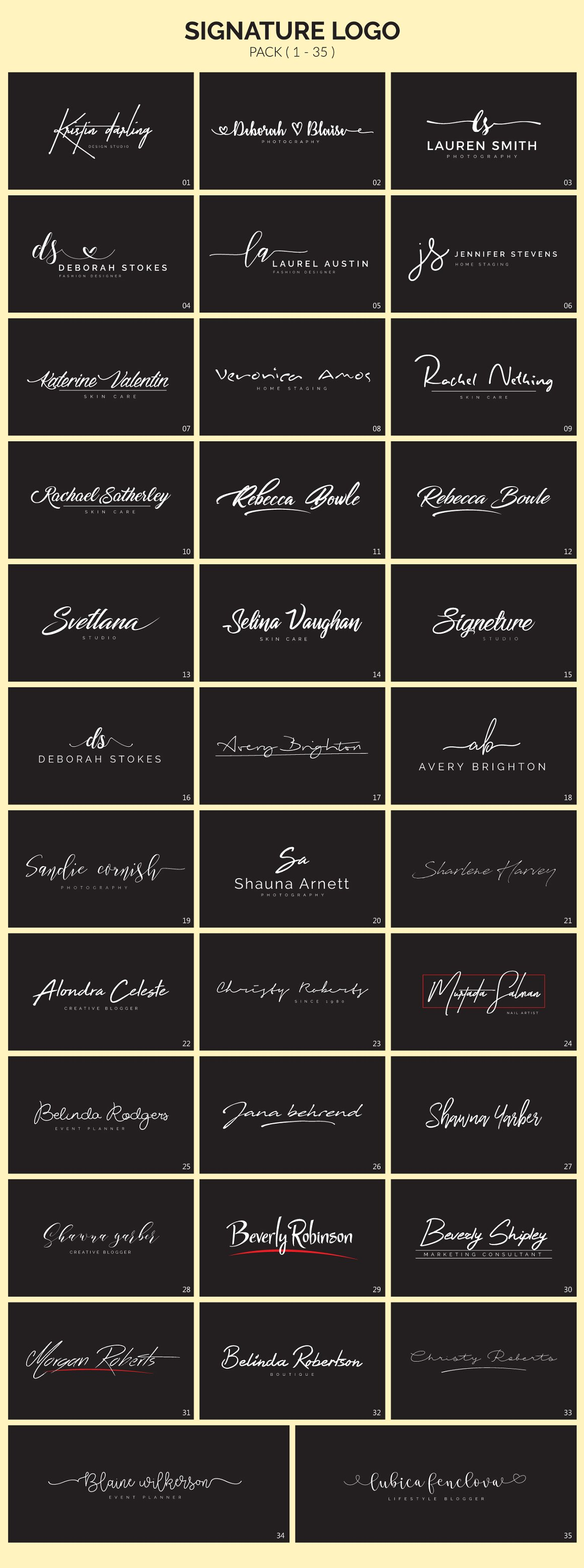 70 Signature Logo Bundle - signature logos 3
