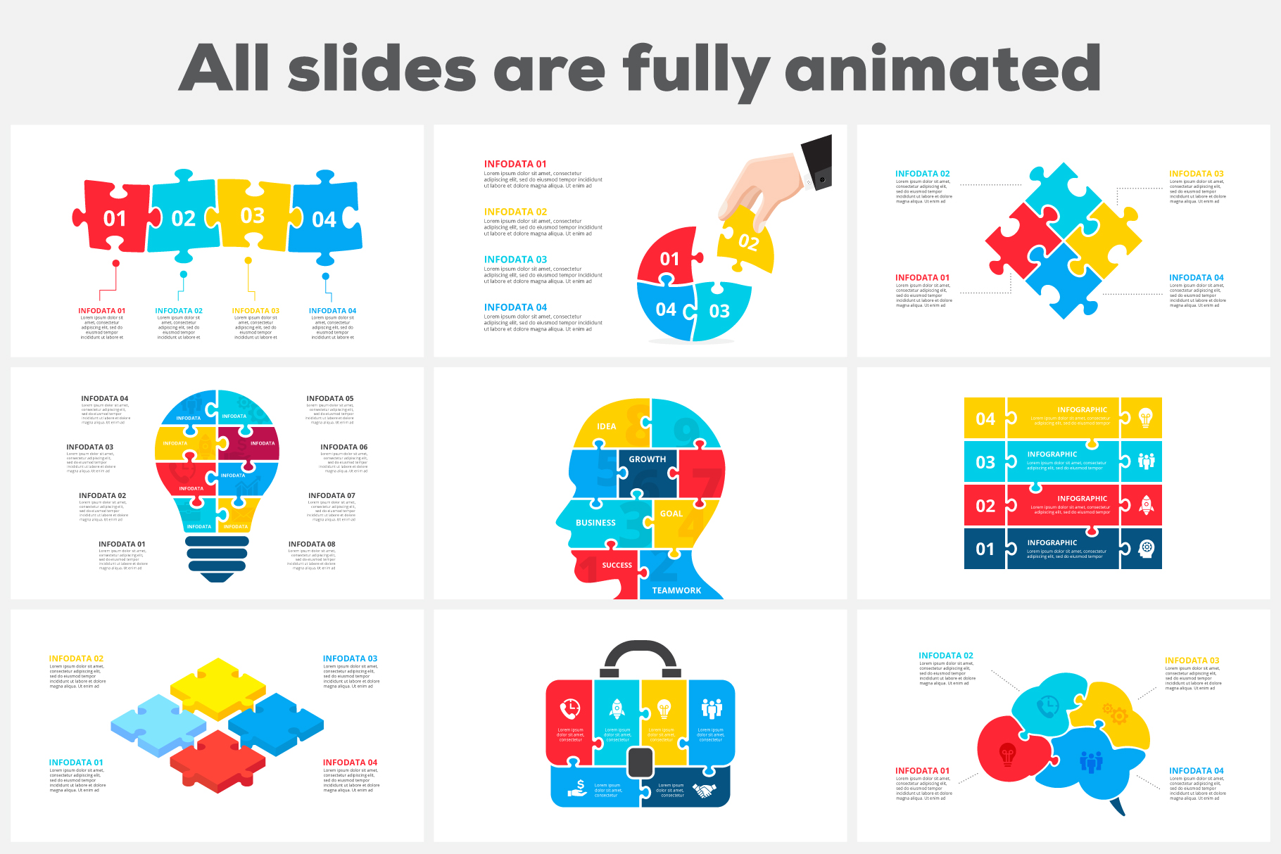 28 Puzzle Animated Infographics: Powerpoint Puzzle Template XML, AI, PSD, EPS, KEY, PDF - 01