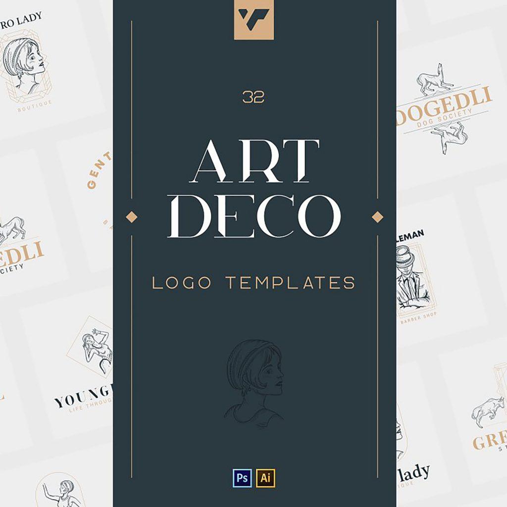 12 Art Deco illustrations - Ai, EPS, PSD - 1 1 2