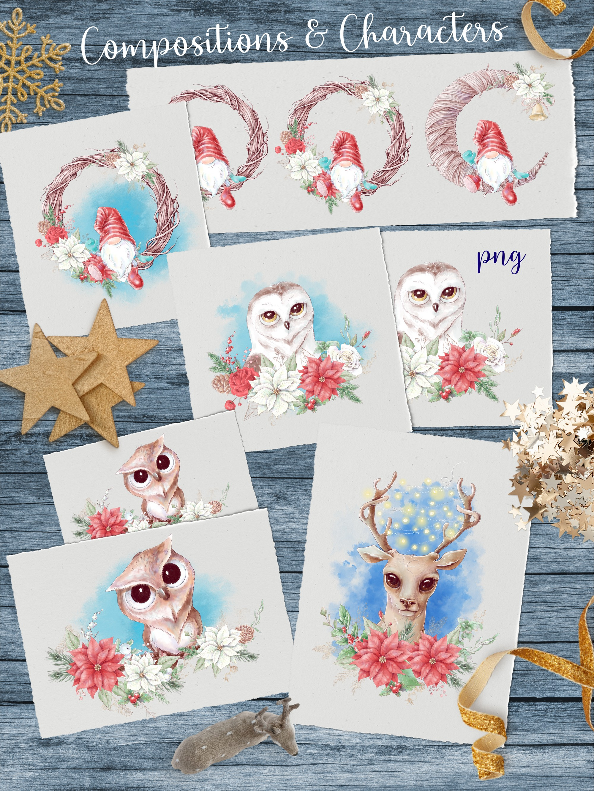 Christmas Watercolor Clipart PNG - 2 4