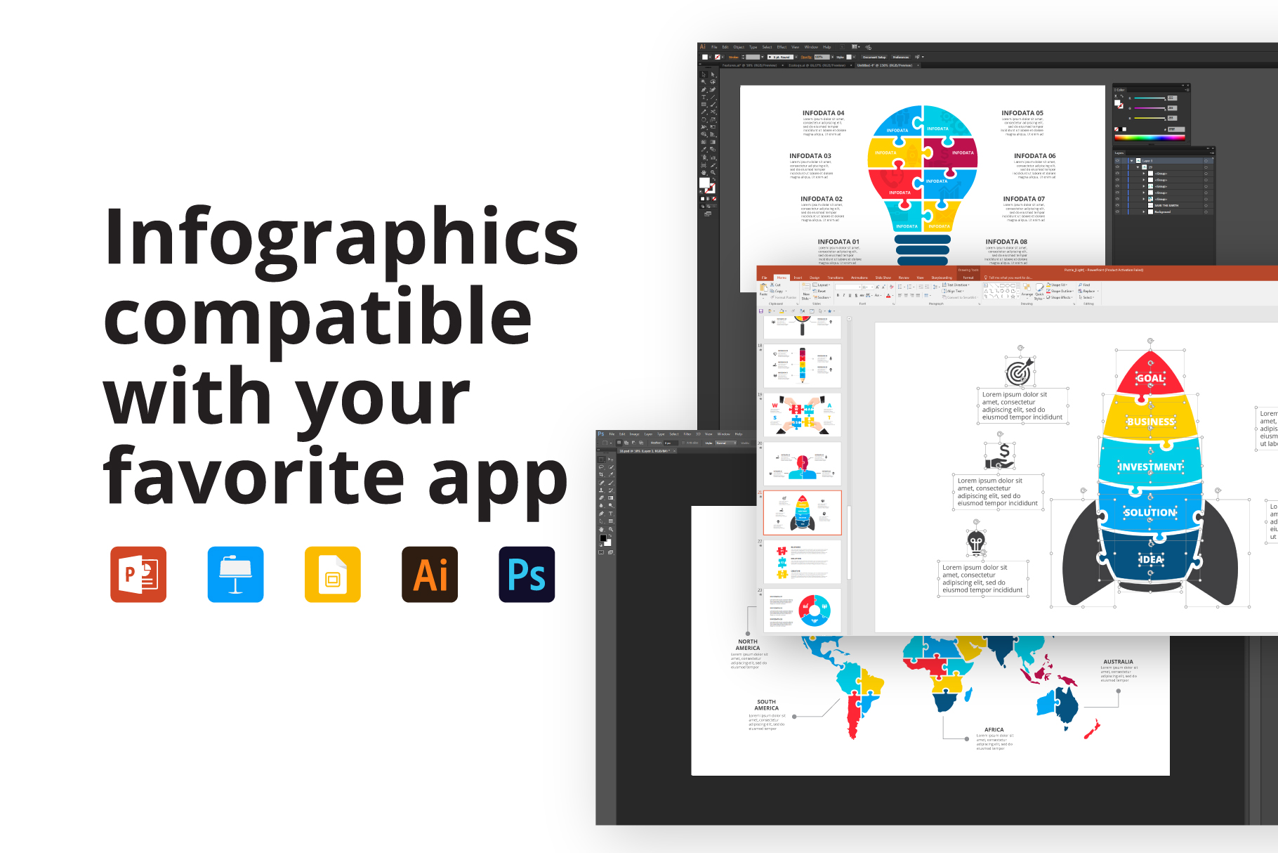 28 Puzzle Animated Infographics: Powerpoint Puzzle Template XML, AI, PSD, EPS, KEY, PDF - Features