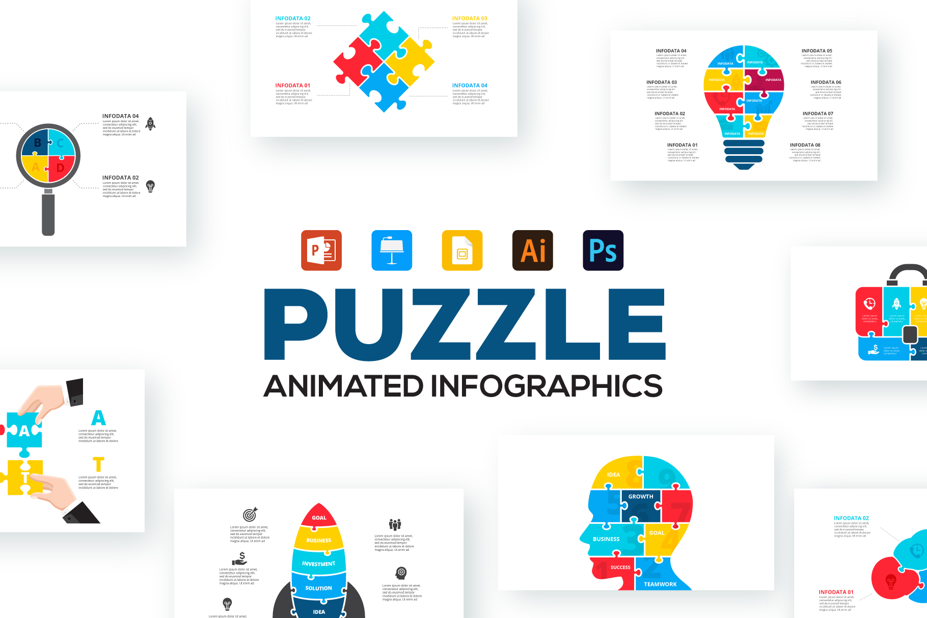 28 Puzzle Animated Infographics: Powerpoint Puzzle Template XML, AI, PSD, EPS, KEY, PDF - Puzzle main