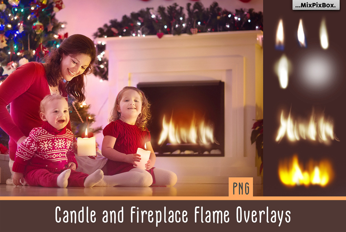 13 Flame Overlays: Candle and Fireplace Flame PNG Overlays - candle and fireplace first image