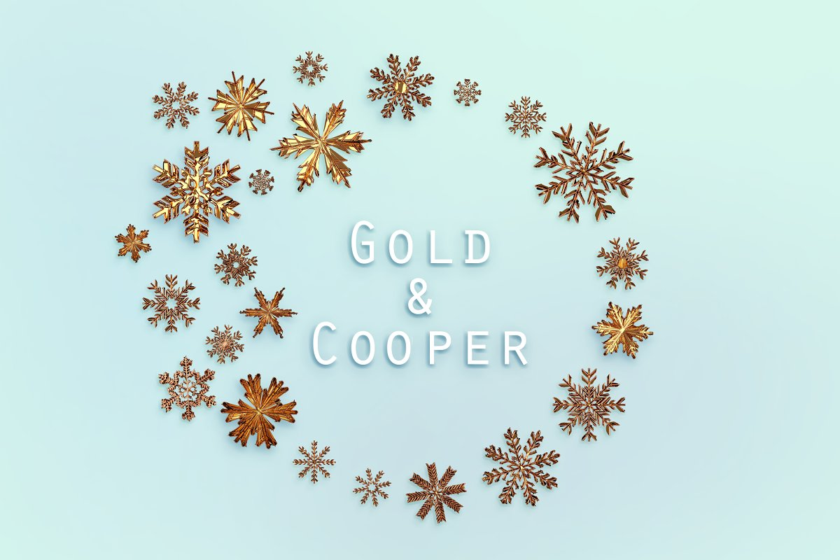 24 Gold Snowflakes PNG Gold & Cooper - gold copper p0 .png