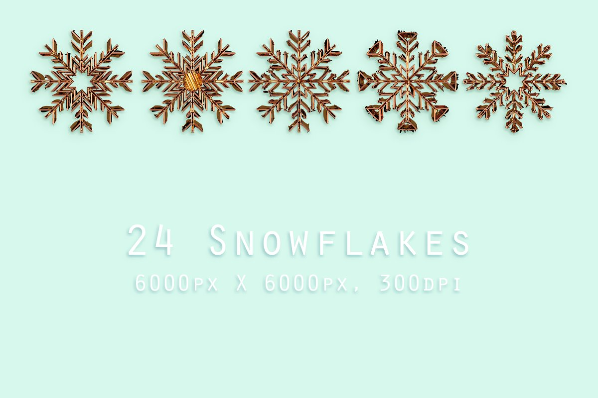 24 Gold Snowflakes PNG Gold & Cooper - gold copper p1 .png
