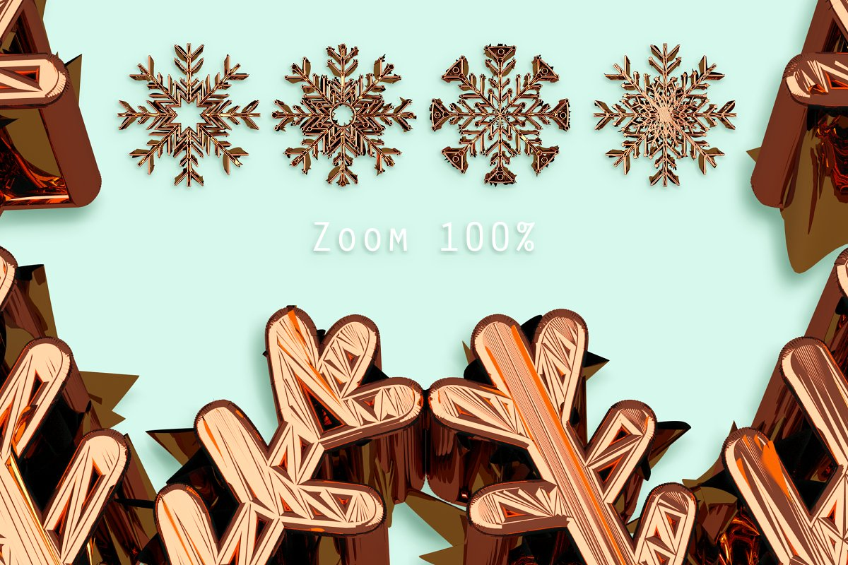 24 Gold Snowflakes PNG Gold & Cooper - gold copper p3 .png