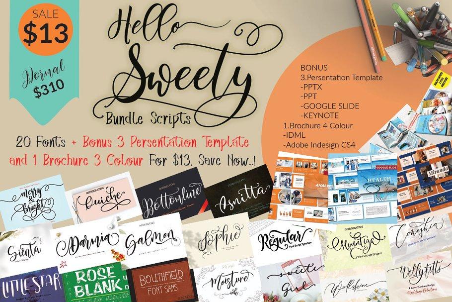 Funky Font Bundle: 18 Amazing Modern Calligraphy Fonts - hello sweety1