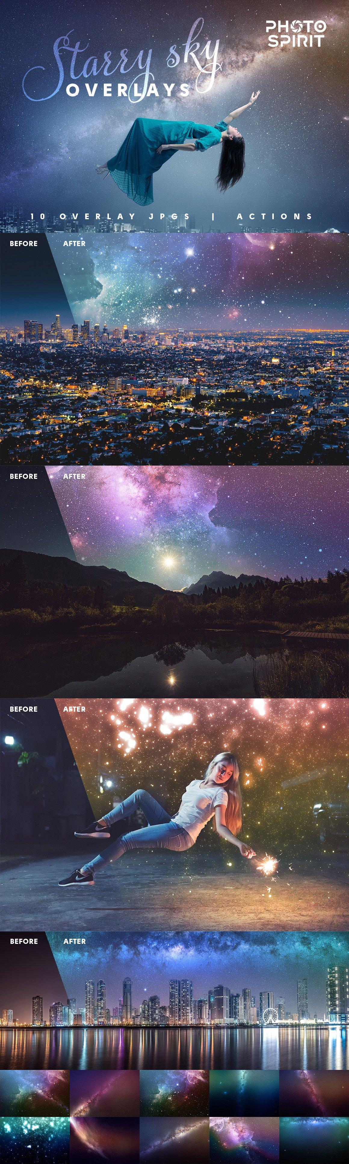 Night Sky Starry Overlays + Actions - night sky starry overlays 0
