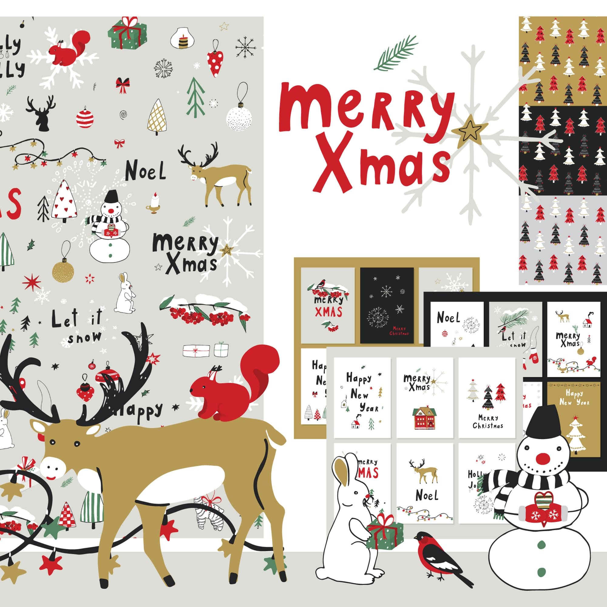 Christmas Patterns & Postcards: Merry X-Mas main cover.