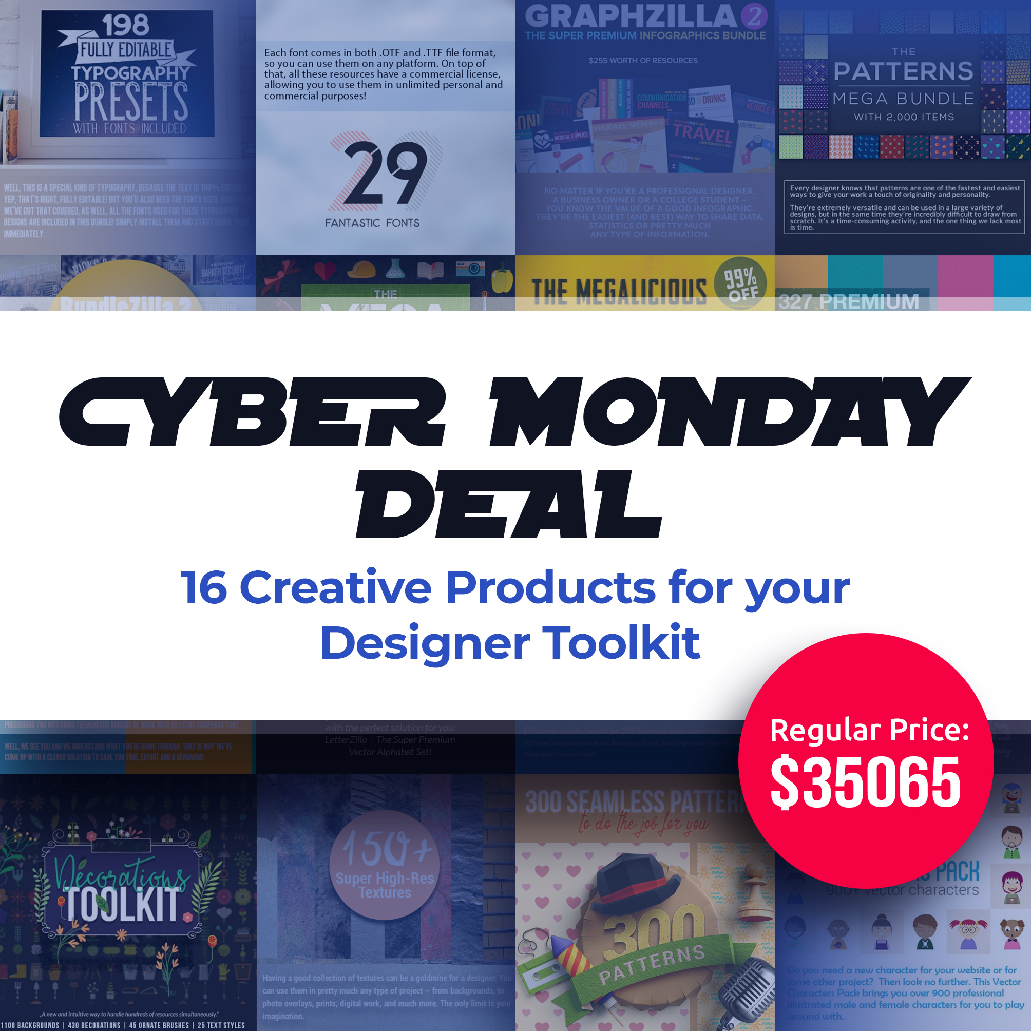 Cyber Monday Bundle: 16 Creative Products for your Designer Toolkit.