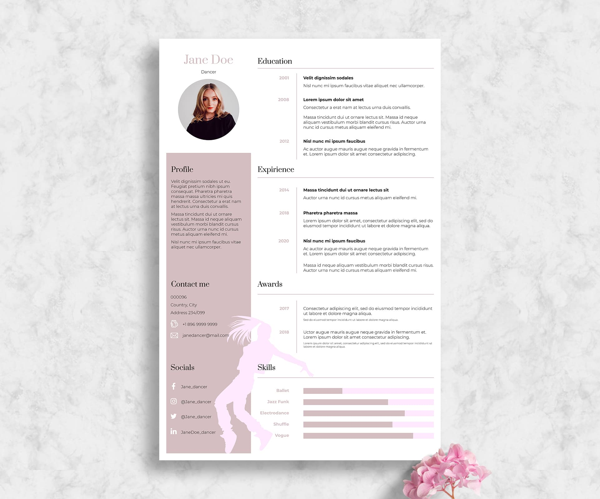 Pink Dance Resume Template Indesign: 2 Variants - Dance 1 1