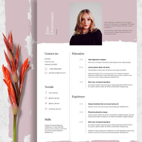 Pink Dance Resume Template Indesign: 2 Variants - Dance3 2 490x490