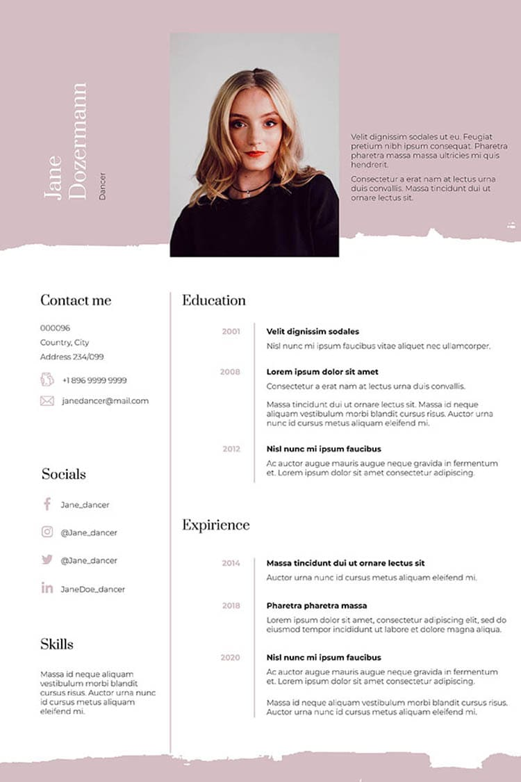 Pink Dance Resume Template Indesign: 2 Variants - dance resume template700 1