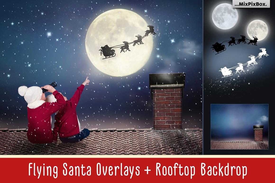 Flying Santa Overlays for Photoshop - flying santa first image