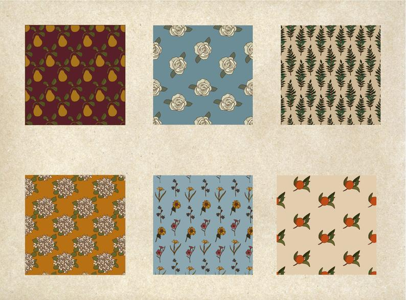 Botanical Clipart Flower Digital Papers PNG - il 794xN.2563147216 4sct