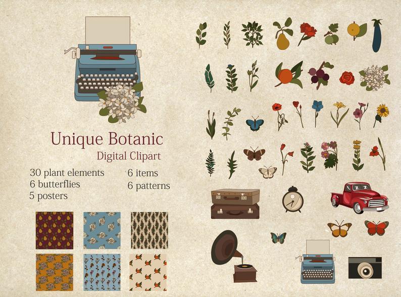 Botanical Clipart Flower Digital Papers PNG - il 794xN.2653027294 d4ld