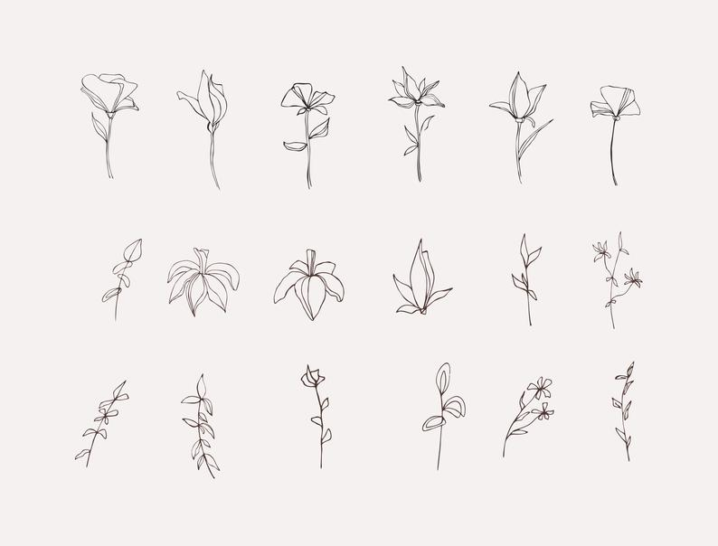 18 Flower Clipart Black and White - il 794xN.2679158619 6fje