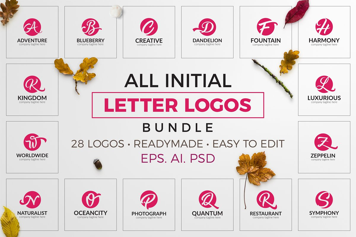 All Initial Letter Logos Bundle - preview 000