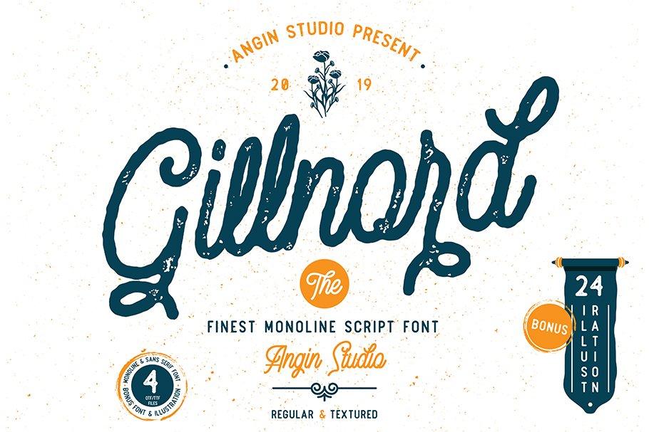 Vintage Monoline Font: Gillnord Script (4 Fonts with Extras ) + 24 Vintage Illustrations - untitled 1