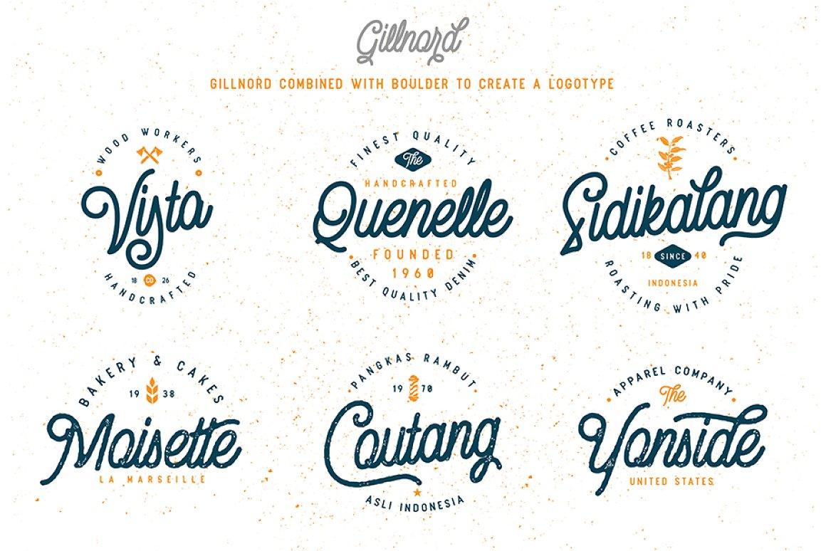 Vintage Monoline Font: Gillnord Script (4 Fonts with Extras ) + 24 Vintage Illustrations - untitled 11