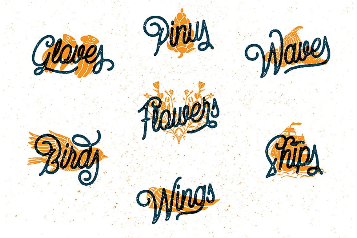Vintage Monoline Font: Gillnord Script (4 Fonts with Extras ) + 24 Vintage Illustrations - untitled 15