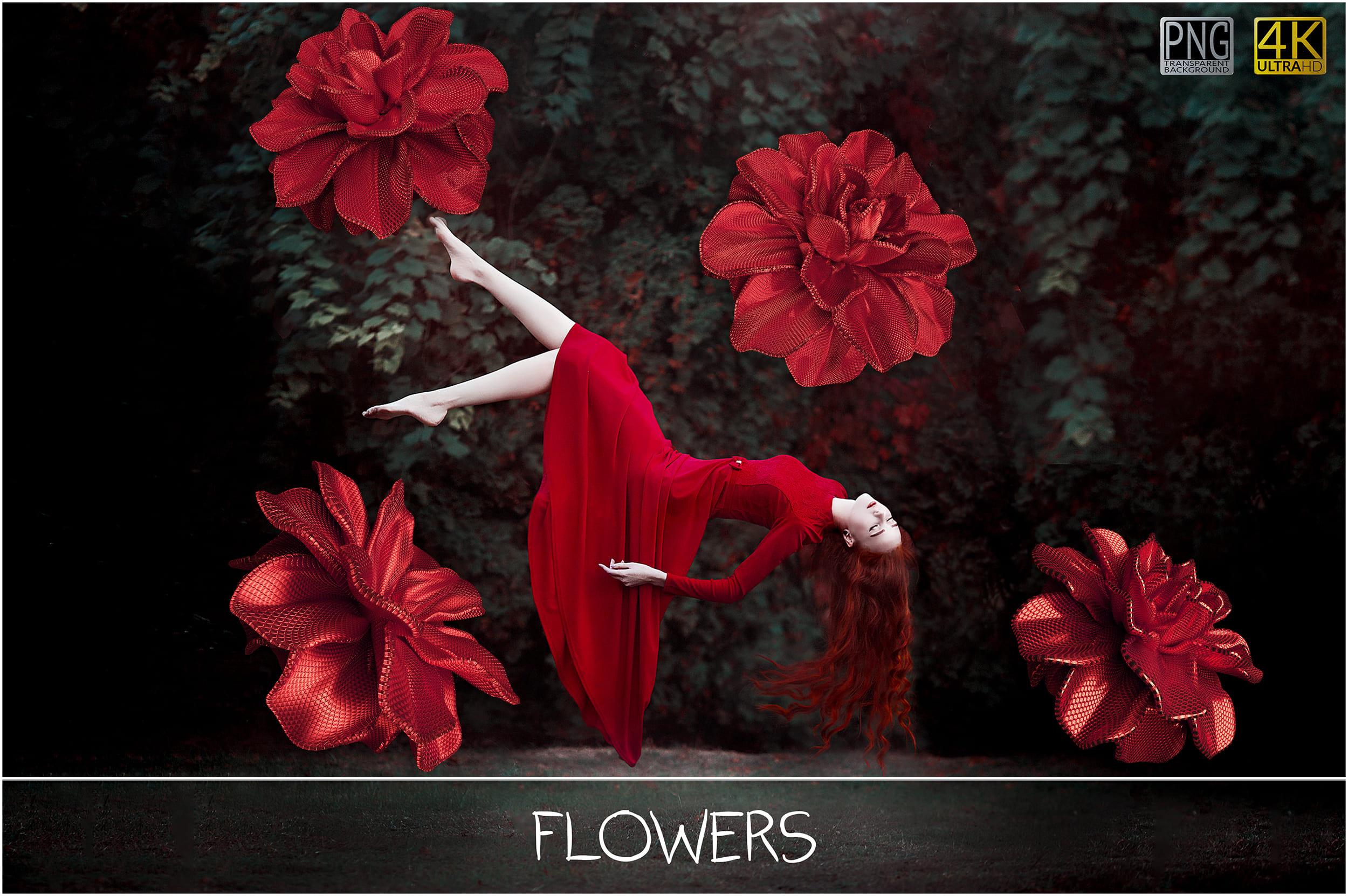 100 Flower Overlays PNG: Red Magenta Flowers - 12 ba main